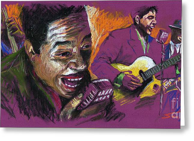 Jazz Songer Greeting Card by Yuriy  Shevchuk