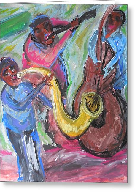 Jazz Trio Preservation Hall Greeting Card by Made by Marley