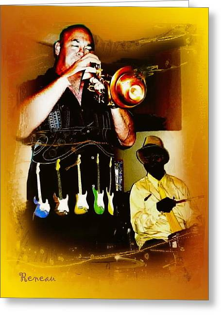 Jazz Trumpet And Drums Greeting Card by Sadie Reneau