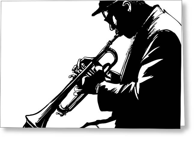Jazz Trumpet Player-vector Illustration Greeting Card