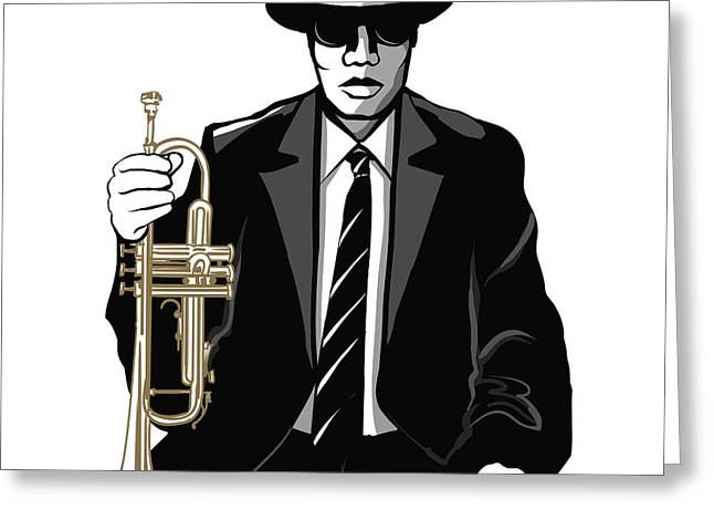 Jazz Trumpet Player - Vector Greeting Card