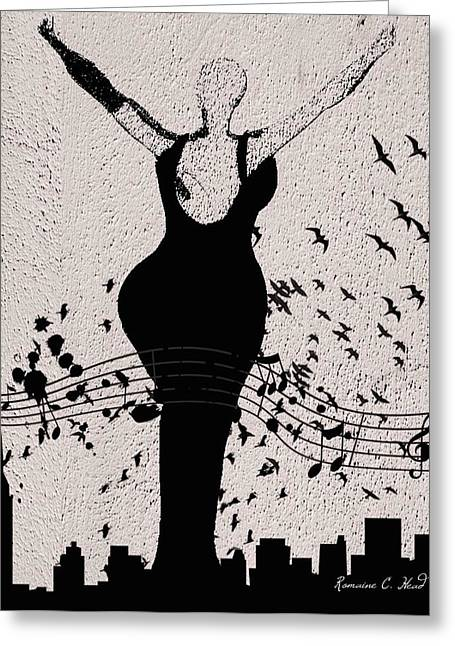 Jazzinthesky Greeting Card by Romaine Head