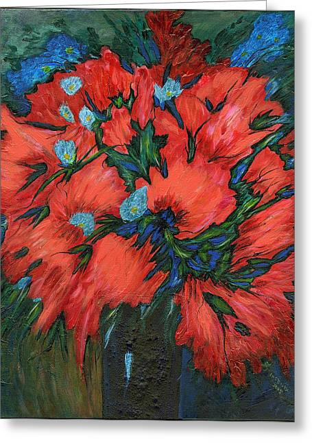 Jazzy Flowers Greeting Card by Phoenix The Moody Artist