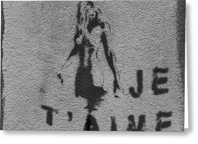 Je T'aime Graffiti Greeting Card