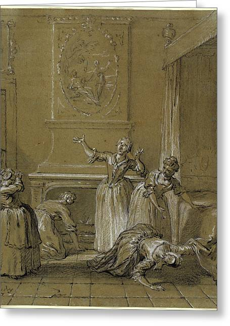 Jean-baptiste Oudry, On Trouve Le Corps Mort De Lhote Que Greeting Card