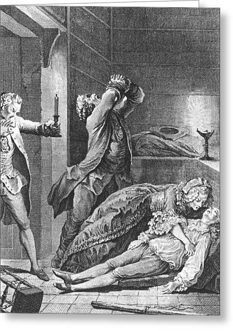 Jean Calas Discovering His Dead Son Greeting Card by Charles Joseph Dominique Eisen