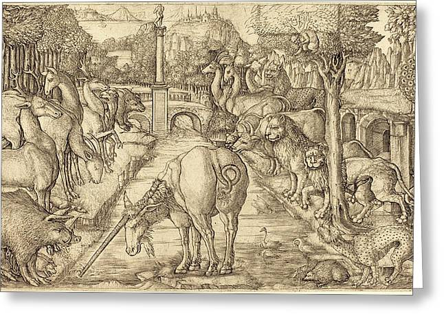 Jean Duvet, French 1485-c. 1570, The Unicorn Purifies Greeting Card by Litz Collection