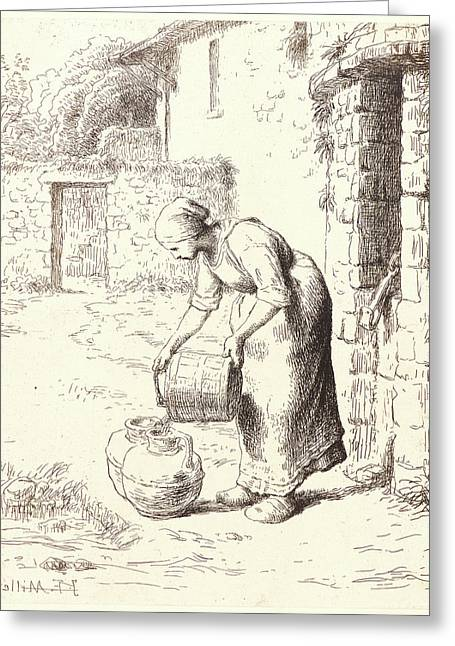 Jean-françois Millet French, 1814 - 1875. Woman Emptying Greeting Card by Litz Collection
