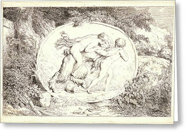 Jean-honoré Fragonard French, 1732-1806. The Satyrs Family Greeting Card
