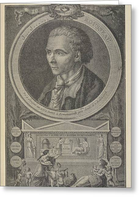 Jean Jacques Rousseau Greeting Card by British Library