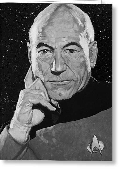 Jean Luc Picard Greeting Card by Adam Lusso
