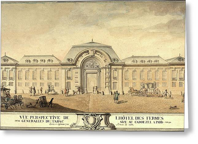 Jean-michel Moreau, French 1741-1814, View Of The Hôtel Greeting Card