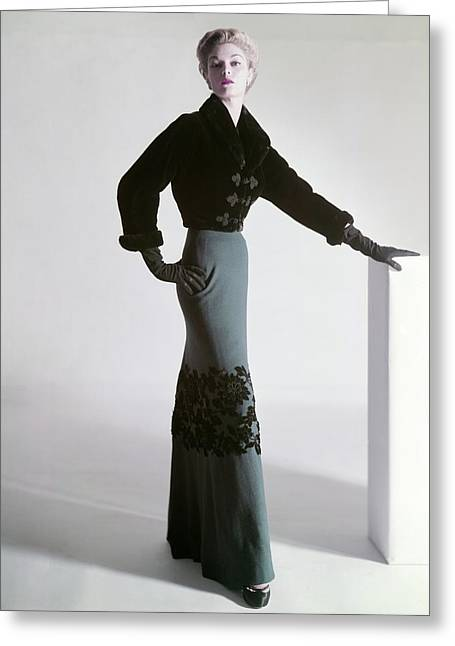 Jean Patchett Wears A Mainbocher Jacket Greeting Card by Horst P. Horst