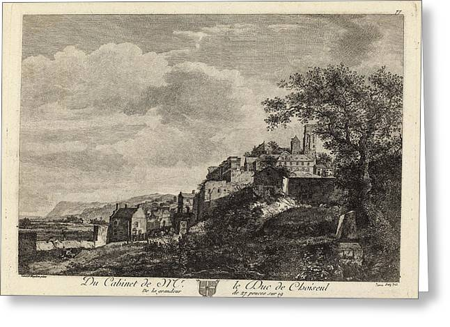 Jeanne Deny After Jan Van Der Heyden, View Of A Hilltown Greeting Card by Quint Lox