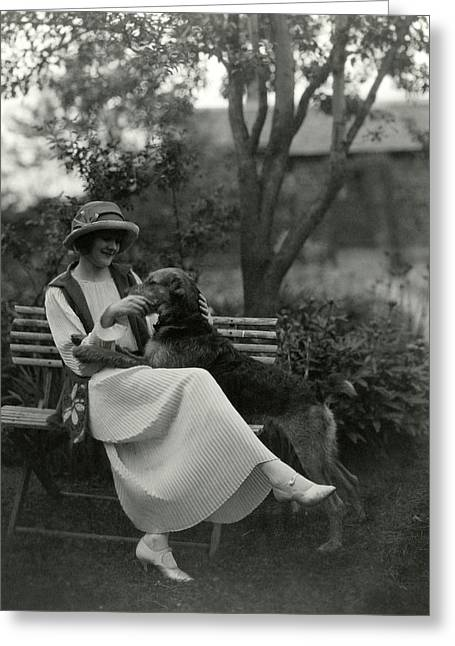 Jeanne Eagels Sitting Down On A Park Bench Greeting Card by Maurice Goldberg