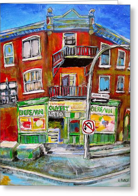 Jeanne Mance Corners Greeting Card by Michael Litvack