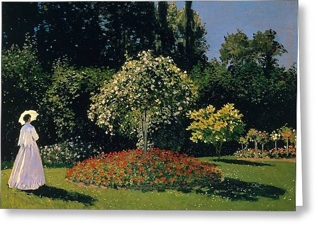 Jeanne-marguerite Lecadre In The Garden Sainte-adresse Greeting Card by Claude Monet
