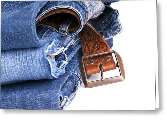 Jeans And Belt Isolated Greeting Card by Tim Hester
