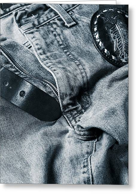 Jeans And Denim In Blue Greeting Card by Christian Lagereek