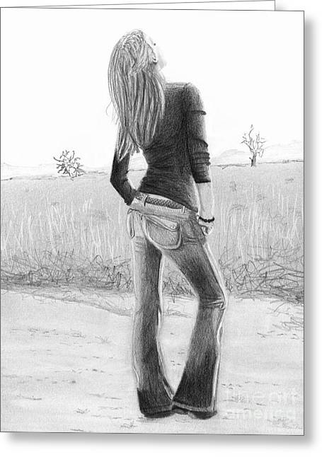 Greeting Card featuring the drawing Jeans by Denise Deiloh