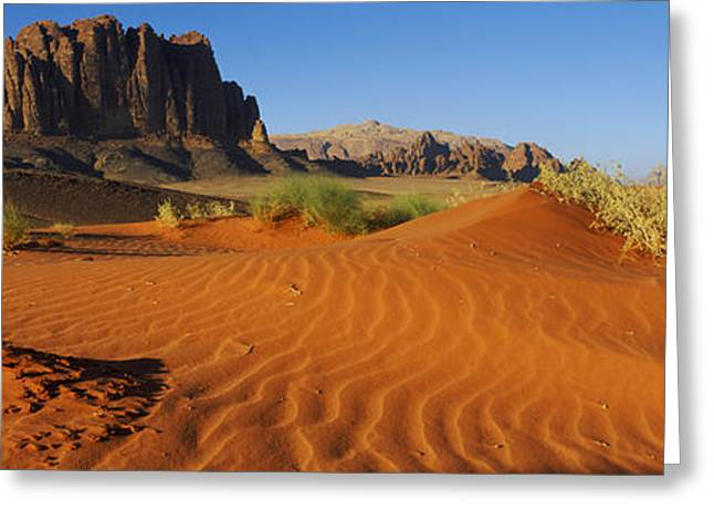 Jebel Qatar From The Valley Floor, Wadi Greeting Card by Panoramic Images