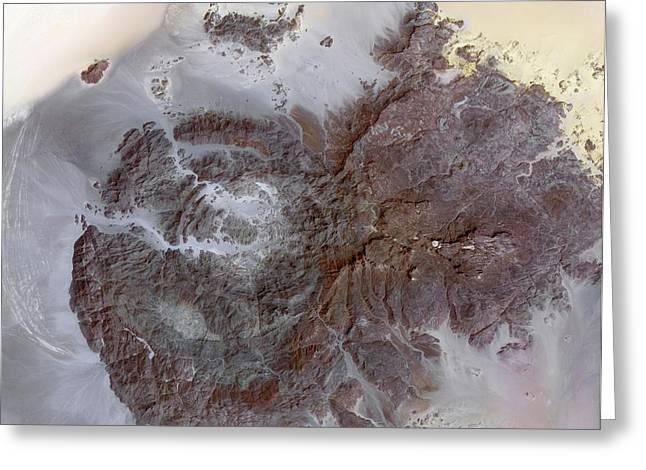 Jebel Uweinat Mountains Greeting Card by Nasa/gsfc/meti/ersdac/jaros, And U.s./japan Aster Science Team