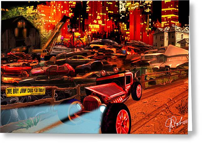 Jed Cooper Junk Yard Greeting Card by Gerry Robins