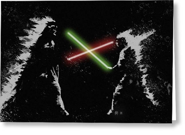 Jedi Duel Greeting Card by George Pedro