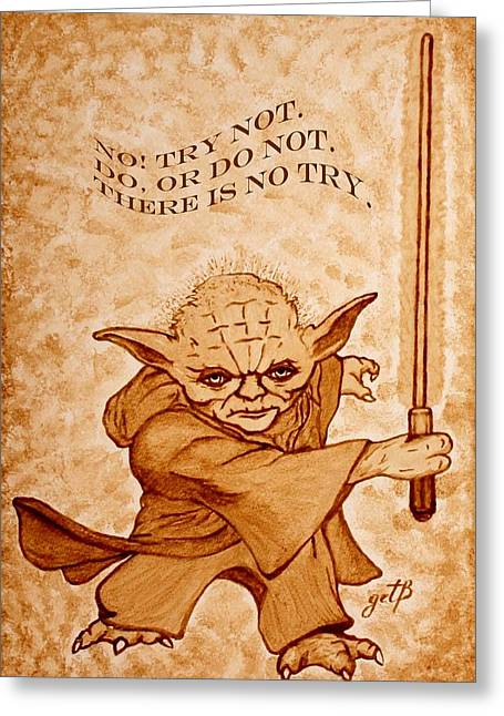 Greeting Card featuring the painting Jedi Yoda Wisdom by Georgeta  Blanaru