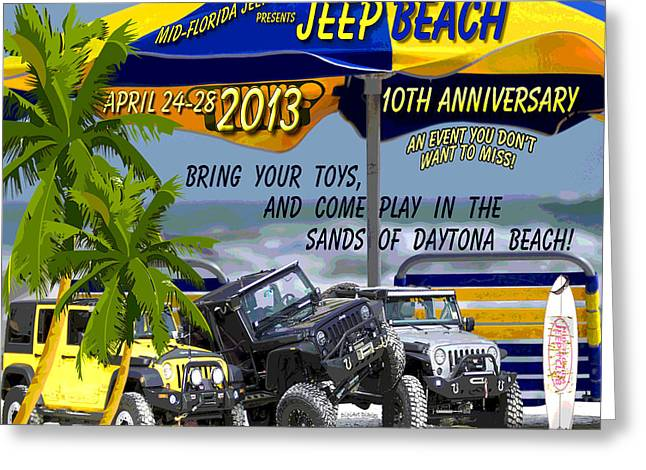 Greeting Card featuring the photograph Jeep Beach 2013 Welcomes All Jeepers by DigiArt Diaries by Vicky B Fuller