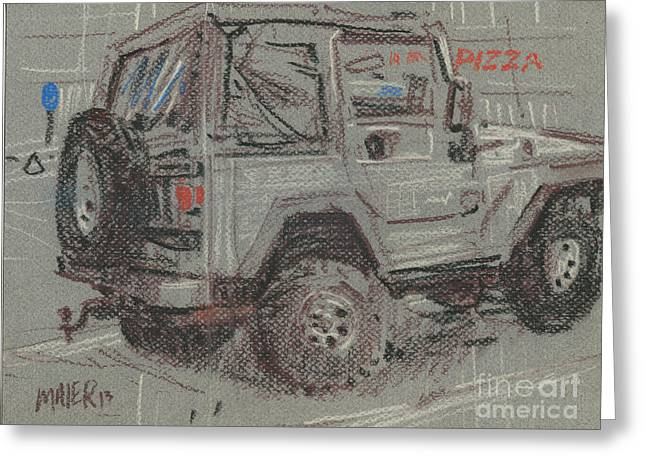 Jeep With Pizza Greeting Card