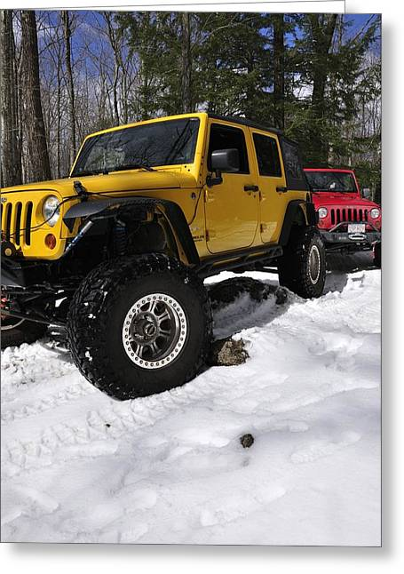 Jeeps On Snow Greeting Card