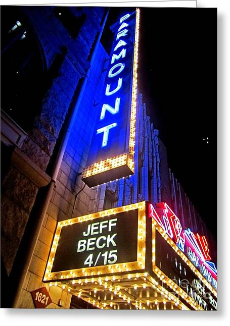Greeting Card featuring the photograph Jeff Beck At The Paramount by Fiona Kennard