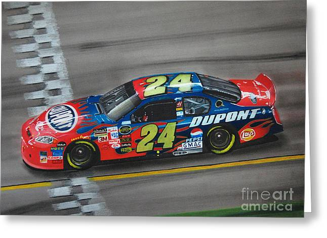 Jeff Gordon Dupont Chevrolet Greeting Card by Paul Kuras