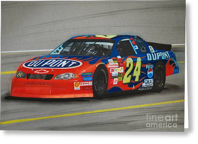 Jeff Gordon Hits Pit Road Greeting Card by Paul Kuras