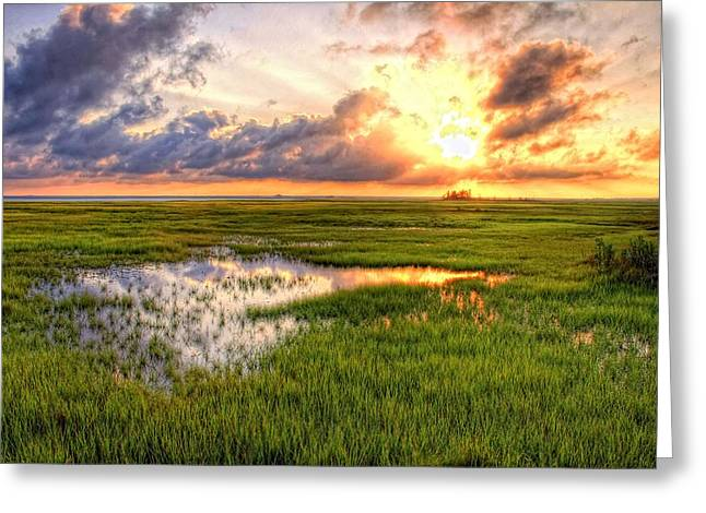 Jeffers Sunset Reflection Greeting Card