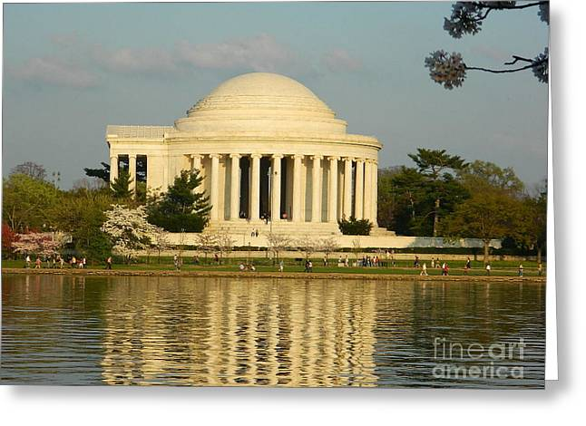 Greeting Card featuring the photograph Jefferson Memorial At Sunset by Emmy Marie Vickers