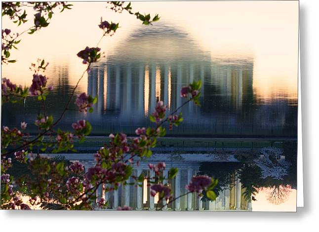Jefferson Memorial Reflection With Cherry Blossoms Greeting Card