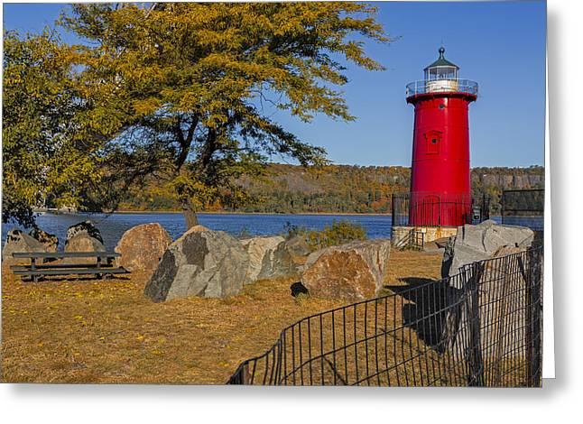 Jeffrey's Hook Lighthouse II Greeting Card by Susan Candelario