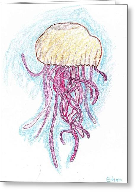 Greeting Card featuring the drawing Jelly Fish Floating by Ethan Chaupiz