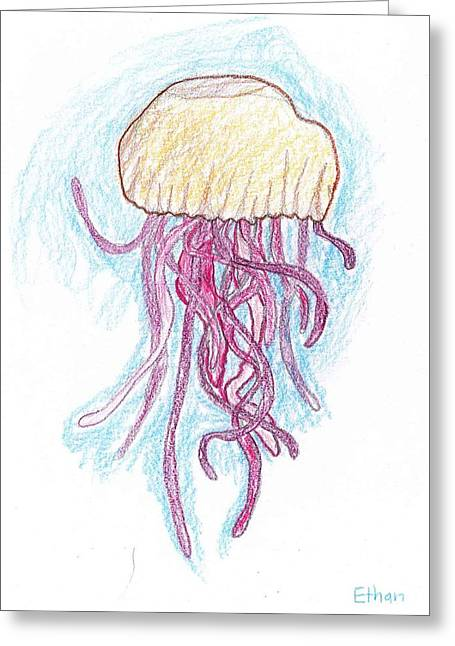 Jelly Fish Floating Greeting Card by Ethan Chaupiz
