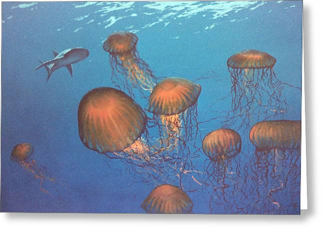 Jellyfish And Mr. Bones Greeting Card by Philip Fleischer