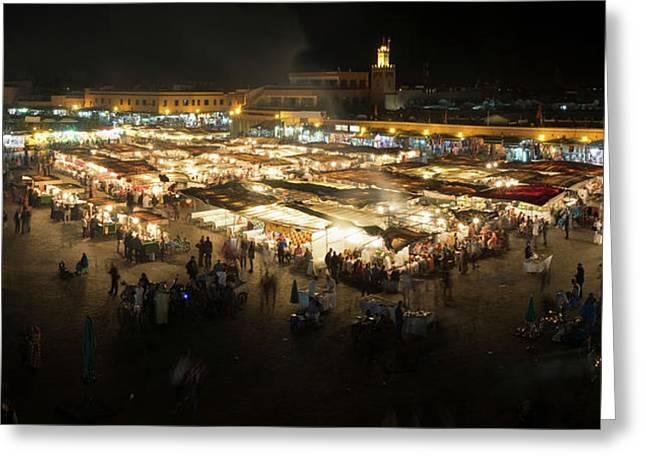 Jemaa El-fna At Night, Marrakesh Greeting Card