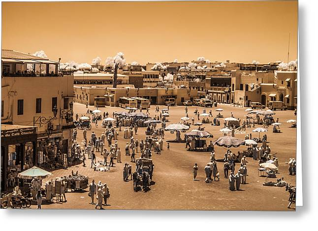 Jemaa El Fna Market In Marrakech At Noon Greeting Card