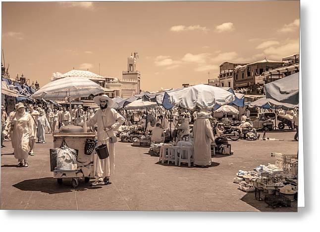 Jemaa El Fna Market In Marrakech Greeting Card