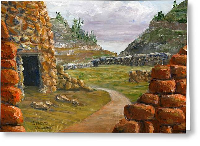 Greeting Card featuring the painting Jemez Inspired Pathway Landscape by Lenora  De Lude