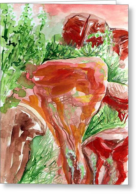 Greeting Card featuring the painting Jemez Red Rocks by Ashley Kujan
