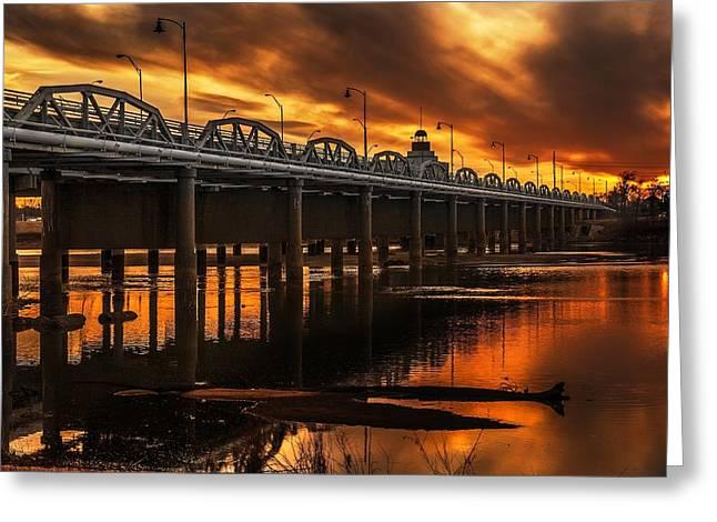 Jenks Bridge At Sunset Greeting Card