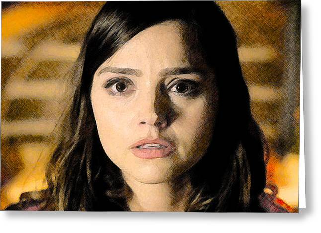 Jenna-louise Coleman - The Doctor's Companion Greeting Card by David Blank