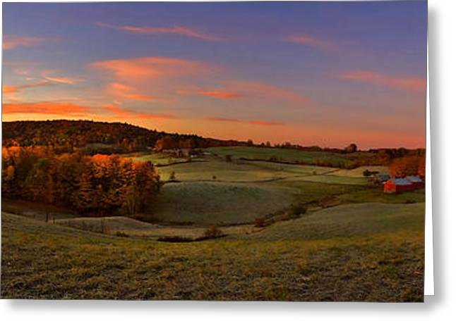 Jenne Farm Vermont Panoramic Greeting Card by Joann Vitali